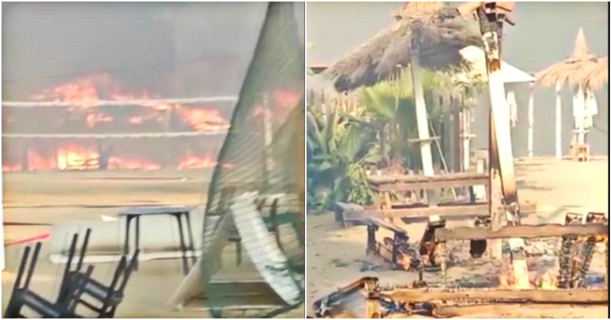Incendi a Catania in fiamme un lido balneare la struttura distrutta dalla furia del rogo