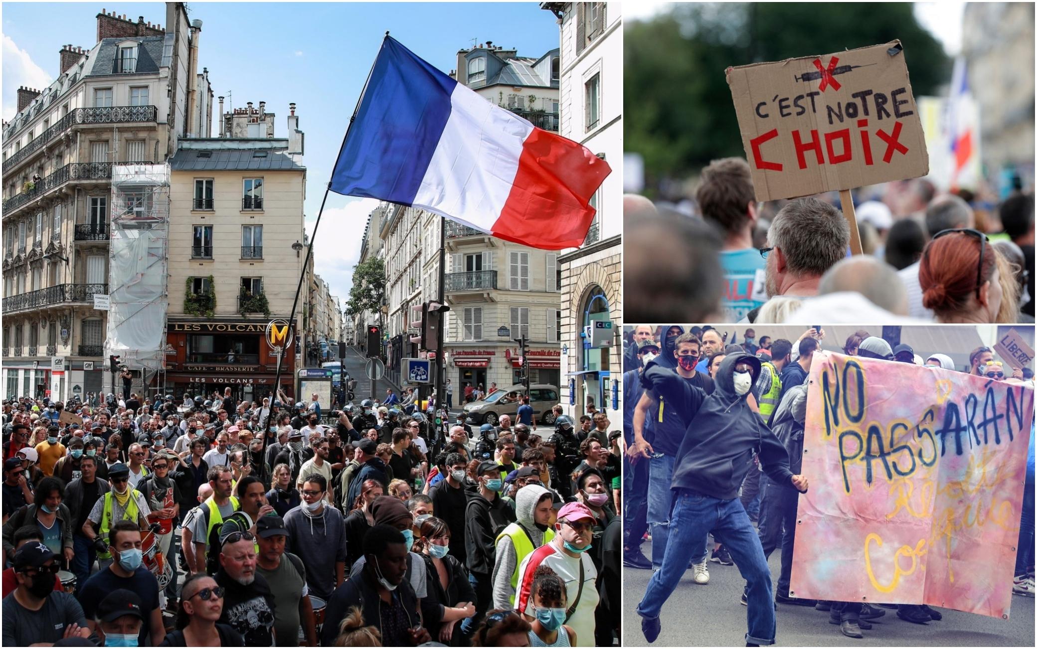 Parigi ancora proteste contro il pass sanitario tensioni tra manifestanti e polizia
