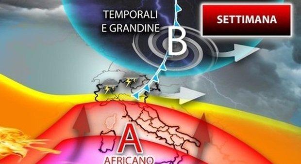 Previsioni meteo Italia divisa in due previsti caldo torrido con punte record al sud e maltempo con temporali forti al nord