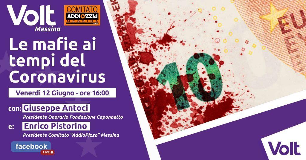 Combattere le mafie ai tempi del COVID: venerdì l'evento di Volt Messina
