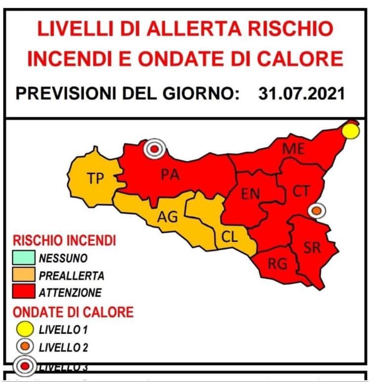 Allerta meteo e incendi in mezza Sicilia Ondata di caldo fino a lunedi