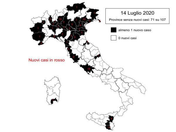 Coronavirus. In Italia il 14 luglio nelle ultime 24 ore 114 nuovi contagi e 17 decessi