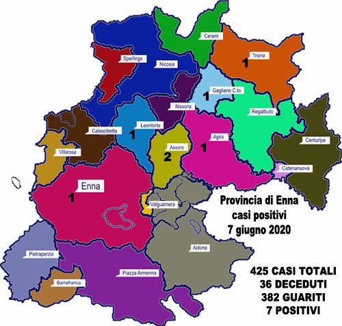 Coronavirus. Aggiornamento sul numero di positivi per ogni comune della provincia di Enna, 7 giugno 2020,
