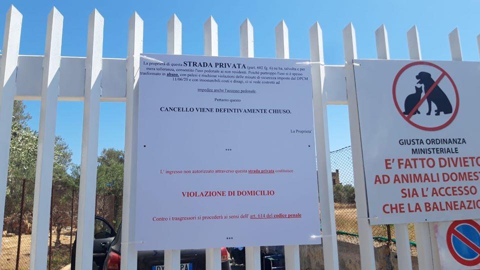 SANTA FLAVIA: Chiuso dai proprietari l'accesso alla spiaggia dell'Uccellaia