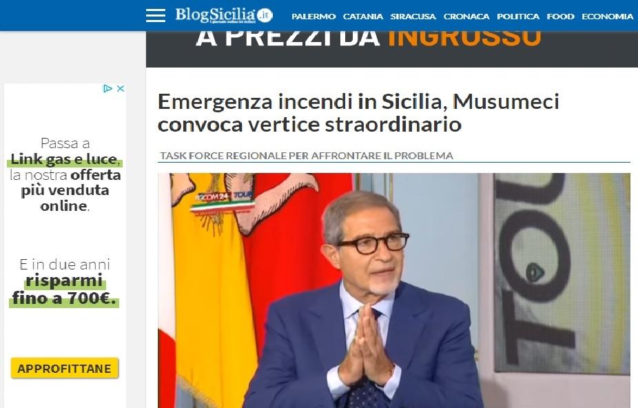 Domani lunedì 2 agosto alle ore 12 al PalaRegione di Catania si terrà un vertice regionale di Protezione civile convocato dal presidente