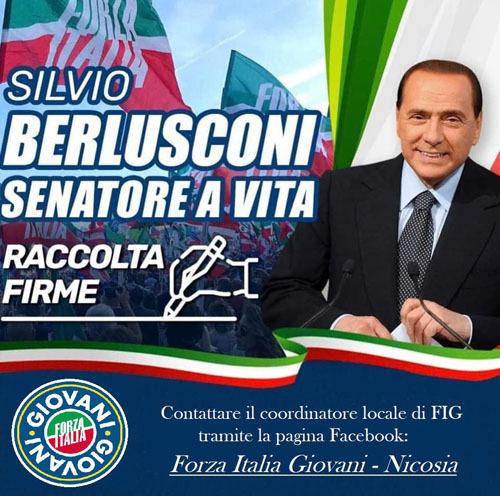 Iniziata anche a Nicosia la raccolta firme per far nominare Silvio Berlusconi senatore a vita