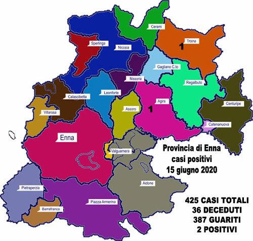 Coronavirus. Aggiornamento sul numero di positivi per ogni comune della provincia di Enna, 15 giugno 2020,