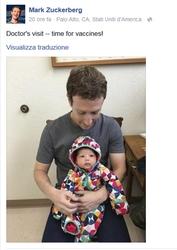 Zuckerberg contro fobia vaccini bebe'