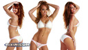 Redheaded hottie shows off lingerie inspired bikini
