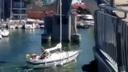 Barca a vela contro un ponte