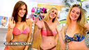 Cute tradeshow models Joy, Allie and Brooke want to show you their bikinis