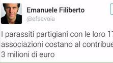 Emanuele Filiberto Twitter, la frase sui 'partigiani parassiti' scatena un terremoto social