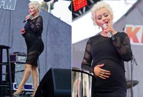 La Aguilera strizzata e sui trampoli: neanche la gravidanza la ferma