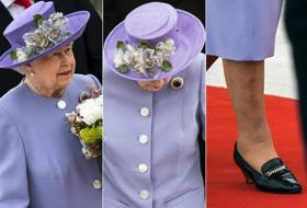 La Regina Elisabetta a Roma in glicine con zaffiro della nonna. Foto