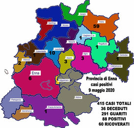 Coronavirus. Aggiornamento sul numero di positivi per ogni comune della provincia di Enna, 9 maggio 2020,