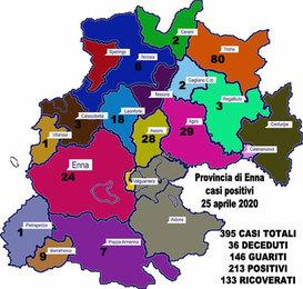 Coronavirus. Aggiornamento sul numero di positivi per ogni comune della provincia di Enna, 25 aprile 2020,